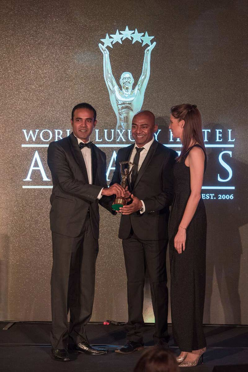 1.Garton's Hotel's (Pvt) Ltd General Manager  Dileepa Wijeyekoon along with Head of Sales & Marketing –  Desath De Lambert receiving the award for 'Best Luxury Beach Hotel in Sri Lanka' from World  Luxury Hotel Awards at a gala ceremony held recently in Switzerland
