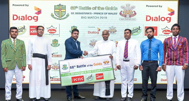 Nadina Fernando, Marketing Manager – Beverages, Elephant House presenting the sponsorship to Rev. Fr. Ranjith Andradi - Rector, St. Sebastian's College, and K. J. Fernando - Principal, Prince of Wales College. Looking on is St. Sebastian's College Cricket Team Captain Tharusha Fernando (far left) and Prince of Wales Cricket Team Captain Savindu Pieris (far right) along with staff from their respective schools.