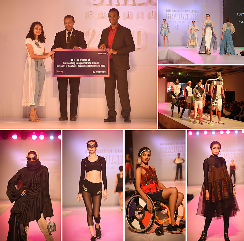Teejay Lanka Deputy CEO Mr Pubudu De Silva and Moratuwa University Vice Chancellor Prof K K C K Perera (above left) presents the Outstanding Designer Brand award to Ms Kulani Harindree and some of the collections on the ramp at the Graduation Fashion Show of the University.