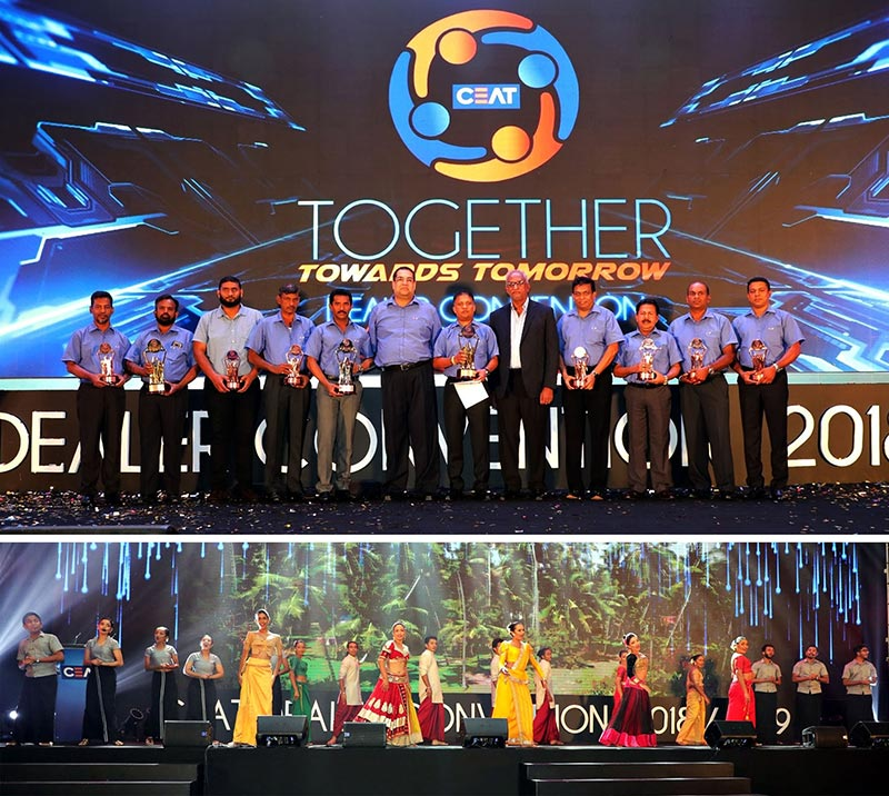 CEAT Kelani's top 10 dealers for 2018-19 with the Company's Executive Director Mr Rohan Fernando and Managing Director Mr Ravi Dadlani (5th and 7th from right respectively) and (Below) a unity-themed dance sequence at the awards gala.