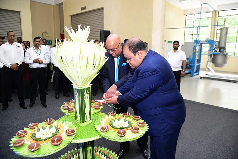 From Left to Right: Hayleys PLC Chairman and Chief Executive, Mohan Pandithage, and Hayleys PLC Co- Chairman, Dhammika Perera, lighting the oil lamp at the opening ceremony.