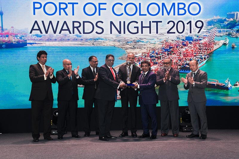 Managing Director - Mr.Chandima Hulangamuwa and Director (Operations) - Shamal Perera of MEDITERRANEAN SHIPPING COMPANY (MSC), receiving the award for the  winner of the Port of Colombo Awards 2019  for the Main Line Operators  from Hon. Minister of Ports, Shipping and Southern Development, Sagala Ratnayaka. Chairman of Sri Lanka Ports Authority (SLPA) Mr.Kavan Ratnayaka, Director (Operations) of Sri Lanka Ports Authority (SLPA)  Mr.Jayantha Perera, CEO of South Asia Gateway Terminals (SAGT) Mr.Romesh David and CEO of the Colombo International Container Terminals (CICT) – Mr. Jack Huang are also in the picture.