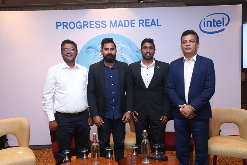 From left  PLAS Techs (Pvt) Ltd Managing Director Abdul Sathar Ilyas, Travel with Wife Influencer Kasun Deegodagamage, Road to Rights Youth Organization Founder Dr. Ashan Perera, Dell Technologies Sri Lanka and Maldives Country Manager Chrishan Fernando launching the Dell Save the Waves campaign in Sri Lanka