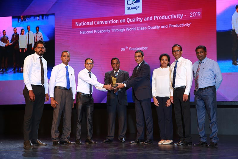 Keells Food Products PLC team receiving the award at the National Convection of Quality and Productivity 2019