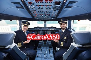 The first Emirates A380 flight to Cairo was led by Egyptian Captain Hesham Essawy and UAE National First Officer Abdullah Alyammahi