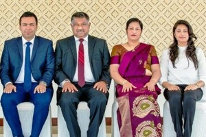 The Board of Directors of The Golden Hospitality (Pvt) Ltd, seated from left to right is Mr. Chanuka Wijekoon (Managing Director), Mr. Sriyananda Wijekoon (Chairman), Mrs. Chamali Wijekoon (Director) & Ms. Hansani Wijekoon (Finance Director)