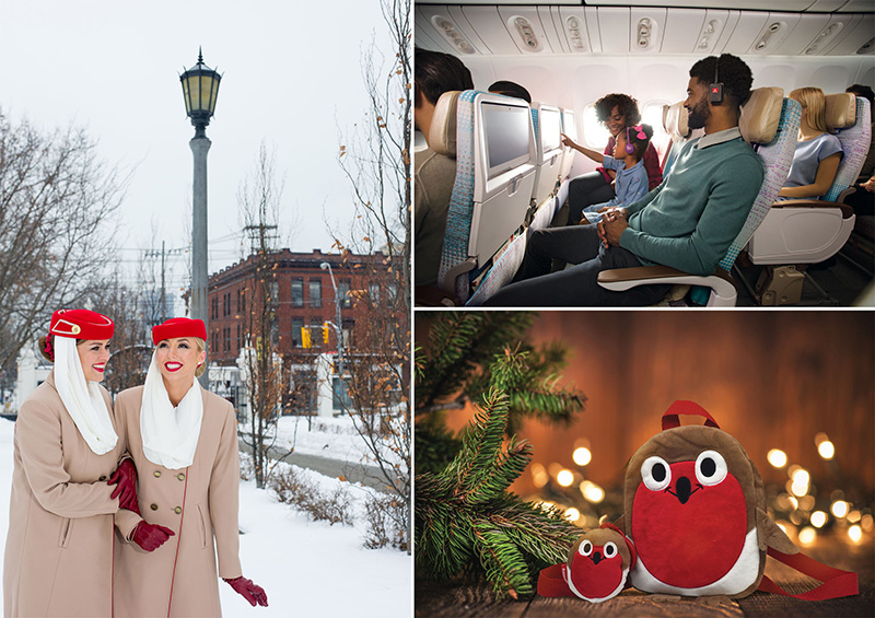 Gearing up for Christmas (clockwise): Emirates Cabin Crew in winter uniform, family fun on-board Emirates and a kid's treat from last Christmas.