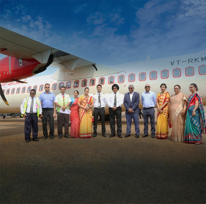 The Management of AASL together with the operations crew of the first commercial flight of Air India to JIA