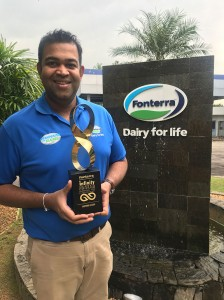 Inspiring Leader Award winner Rehan Anthonis, Senior HR Business Partner for Fonterra Brands Sri Lanka's Integrated Supply Chain and Sales and Marketing team.