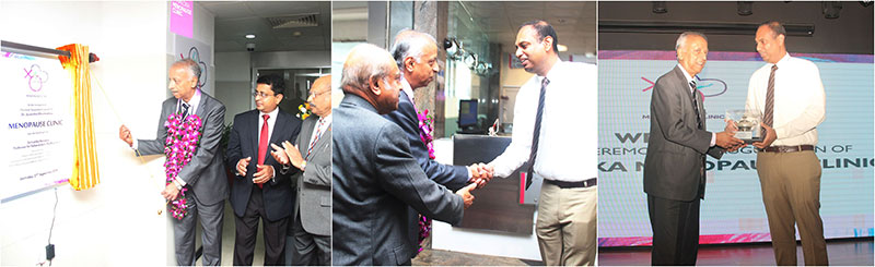 Snapshots of the opening ceremony of the Menopause centre by Professor Sir Sabaratnam Arulkumaran and the professor being welcomed by Nawaloka Hospitals Director Harshith Dharmadasa.