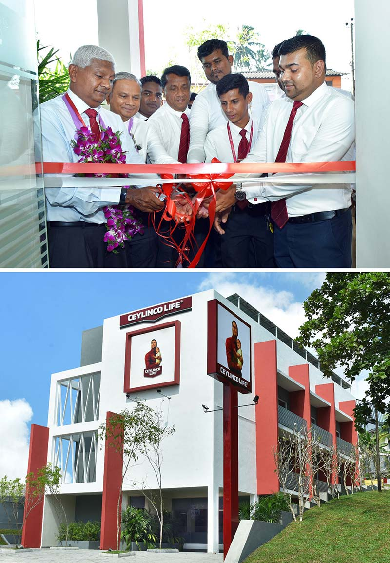 Ceylinco Life Chairman Mr R. Renganathan and Managing Director Mr Thushara Ranasinghe (top, extreme left and second left) at the opening of the new Green branch at Malabe (below).