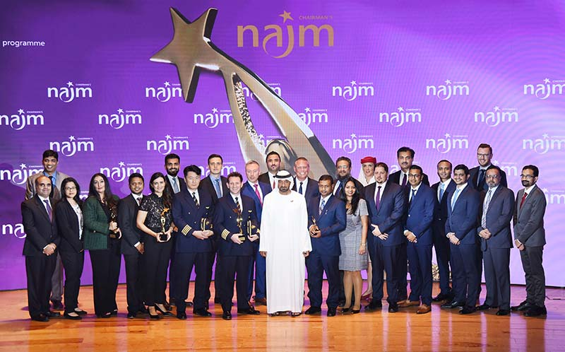 26 of the Emirates Group's top employees received the organisation's most prestigious recognition today at the Najm Chairman's Awards.