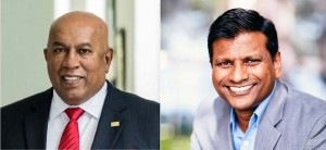 (Left) Chairman and Chief Executive of the Hayleys Group, Mohan Pandithage, (Right) Chief Executive Officer of Jetstar Asia, Bara Pasupathi