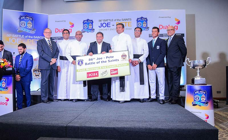 From left: Michael Elias - Joint Organising Committee Member, St. Peters College, Rev. Fr. Milan Bernard – Sports Coordinator, St Peters College, Rev. Fr. Ranjith Andradi – Rector, St. Joseph's College, Mr Shanil Perera - Head of Sales - Elephant House Beverages / Assistant Vice President JKH, Rev. Fr. Rohitha Rodrigo – Rector, St. Peter's College, Rev. Fr. Priyan Tissera – Prefect of Games, St. Joseph's College, Johanne De Zilwa, Captain, St. Josephs College and Terrance Fernando, Joint Organising Committee Member.