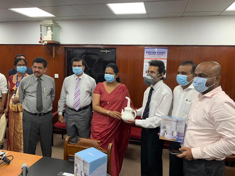 Handing over the steam inhaler to the Ministry of Health -  Hon (Mrs) Pavithra Wanniarachchi -  Minister of Health, Nutrition and Indigenous Medicine Ministry of Health , Dr. Charith Nanayakkara - Lecturer of the Department of Surgery specializing in Neurosurgery at Teaching Hospital, Kotalawela Defense University Sri Lanka, Dr. Sajeeva Narangoda – Director/COO Millennium IT ESP and Group Vice President Ambeon Holdings PLC, Mr Channa Gunawardana - Chief Executive Officer, Dankotuwa Porcelain PLC