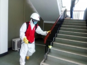 Sanitizing of the BMICH premises by Sri Lanka Red Cross