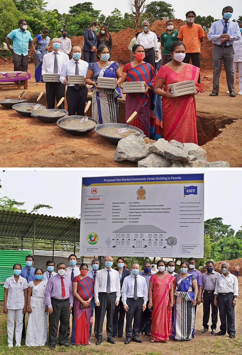 Representatives of the senior management of CICT and officials of local government bodies at the foundation stone ceremony for the new Community Centre in Pannila.