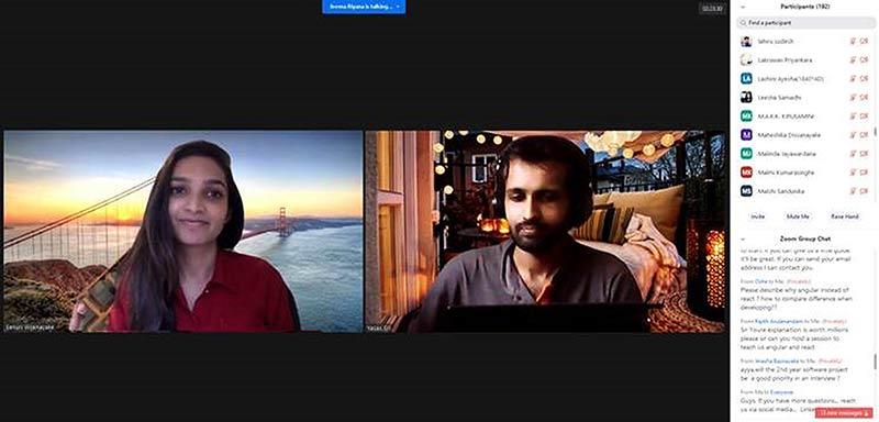 A screenshot from a webinar for the University of Moratuwa featuring 99X Technology Senior Software Engineer Yasas Wickaramasinghe (right)