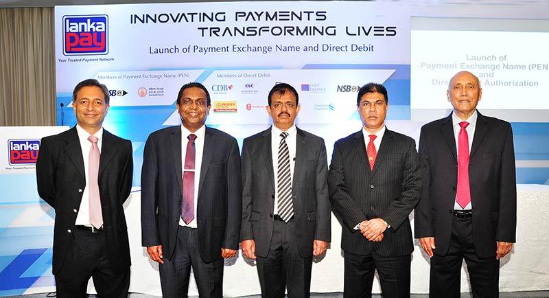 Pictured here are (From left) Dinuka Perera, DGM-IT and Operations, LankaClear; Channa de Silva, GM/CEO, LankaClear; D. Kumaratunge, Director - Payments and Settlements, Central Bank of Sri Lanka; Tharaka Ranwala - Senior DGM-Consumer Banking, Sampath Bank PLC and Ravi De Silva, Secretary General, Sri Lanka Banks' Association at the launch