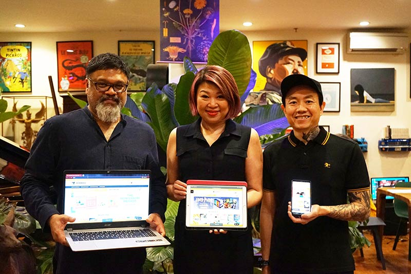 From left Big Bad Wolf Books Sri Lanka Partner Dipak Madhavan and Co-Founders of Big Bad Wolf Books, Jacqueline Ng and Andrew Yap launching The Big Bad Wolf Book Sale 2020 Readers Portal Website