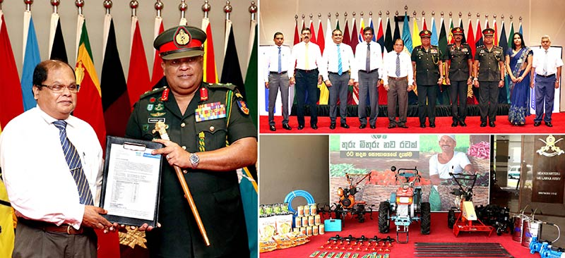 "(Left image) Commercial Bank Chairman Mr Dharma Dheerasinghe and Army Commander Lieutenant General Shavendra Silva at the exchanging of the agreement and (Right, top and bottom) senior representatives of the Bank and the Army at the presentation and the agricultural machinery and equipment donated to the ""Thuru Mithuru Nawa Ratak"" project."