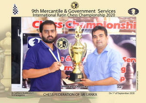 99X Technology Application Security Engineer Pranieth Chandrasekara (left) receiving his trophy from Chess Federation of Sri Lanka Treasurer Irosh Jayasinghe at the 9th Mercantile/Government Service International Rating Chess Championship 2020