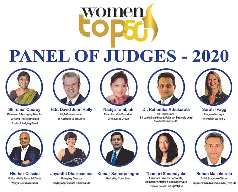 'Top 50' Professional and Career Women Awards 2020' awards to be evaluated by the who's who of Sri Lanka's corporate leaders