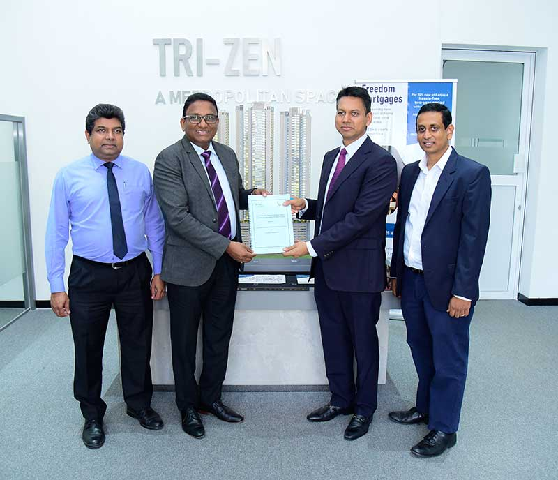 From left: SLT Chief Enterprise & Wholesale Officer Janaka Abeysinghe, SLT CEO Kiththi Perera, Braybrooke Residential Towers (BRT) Chairman Y. H. Rushanka S. Silva, and BRT Director Nayana Mawilmada
