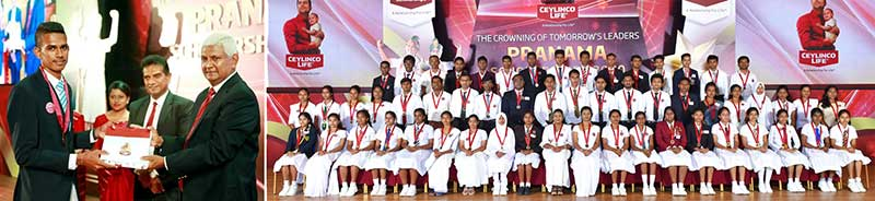 A student receives a Pranama scholarship from Ceylinco Life Chairman Mr R. Renganathan (left image, extreme right) and some of the winners from the last batch of Pranama recipients.