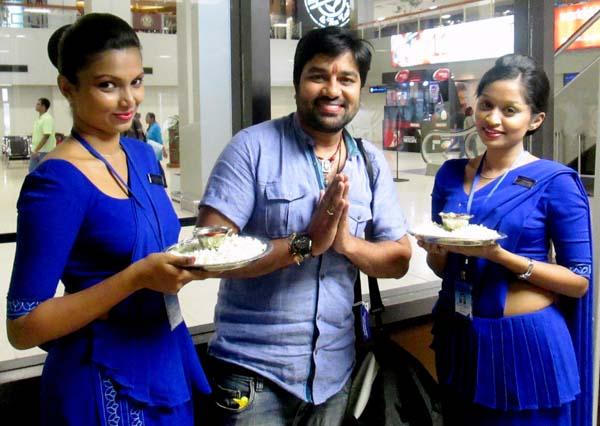 Mirchi Siva boards inaugural flight to Chennai