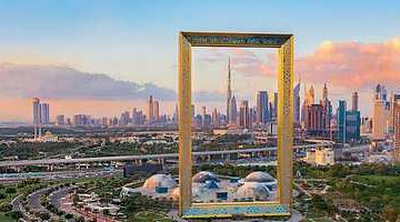 Aerial-view-of-Dubai-Frame-at-sunset